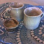 ぐいのみ:白土黄瀬戸釉・カップ白土うのふ釉