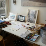 Een plekje van mijn atelier in de galerie
