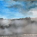 Avondzon platteland - 4, aquarel op papier / 10x15cm