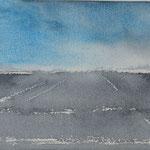 Horizon platteland - 3, aquarel op papier / 10x15cm