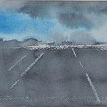 Horizon platteland -2, aquarel op papier / 10x15cm /Sold(Private collection in Zoetermeer, The Netherlands)