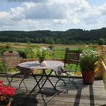 Terrasse mit Blick auf den Böhmerwald, kleine Ferienwohnung