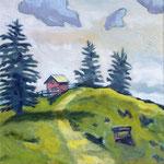 Tannen und Hütte, 40 x 40 cm