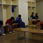 試合前は、選手控室で精神集中