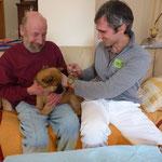 """Züchter und Tierarzt haben sichtlich Spass beim """"Quälen"""" :-) der Welpen"""