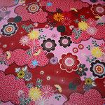 besch. Baumwolle (PVC) - Blumen Fantasie rot