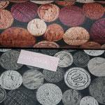besch. Baumwolle (80% BW + 20% PL - Acryl) - PICABO - Weinkorken + Jahreszahlen rot/rosa/natur + beige/natur/grau (AUSVERKAUFT)