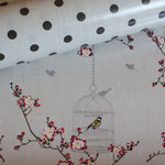 besch. Baumwolle Au Maison (PVC): Punkte earth (= braun) auf toffee - METERWARE + Birdcage toffee (METERWARE)