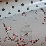 besch. Baumwolle AU Maison: Punkte earth (= braun) auf toffee  + Birdcage toffee