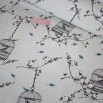 Baumwolle AU Maison: Design: Birdcage - Farbe: verte - AUSVERKAUFT