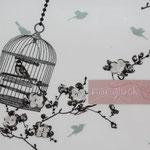 besch. Baumwolle (PVC) Au Maison - Birdcage charcoal / ice gren - RESTMENGE ???