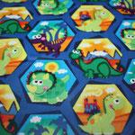 besch. Baumwolle (PVC) - Dinosaurier blau