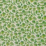 besch. Baumwolle: Dschungelblätter grün auf naturfarbenen Grund