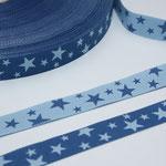 STERNE jeansblau / hellblau - beidseitig verwendbar !!! - Design: not4angels 2009 - 12 mm breit - EUR 1,50/m