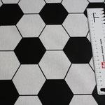 besch. Baumwolle (PVC) - Fussball schwarz / weiß