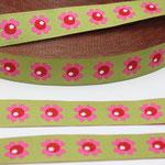 Woodpecker Flower - lime - Design: Bienvenido Colorido 2013 - 15 mm breit - EUR 1,60/m