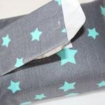 Design: grau mit türkis / weißen Sternen