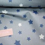 besch. Baumwolle (Acryl) - Sterne dunkelblau / weiß auf hellgrauem Grund