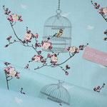 Baumwolle: Au Maison - Birdcage / Vogelkäfig + Blumenranken - aqua sky - RESTMENGE