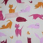 besch. Baumwolle - Katzen pink, rosa, orange, rot - naturgrundig