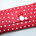 Design: rot m. kl. weißen Punkten - Häkelappli: Fliegenpilze von maeusespatz