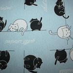 besch. Baumwolle (Teflon) - Katzen schwarz/weiß