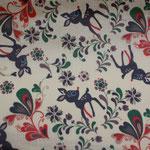 besch. Baumwolle (PVC) - Reh Retro - beigegrundig