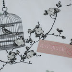 Baumwolle Au Maison: Design: Birdcage - Farbe: charcoal / ice green - weißgrundig - AUSVERKAUFT