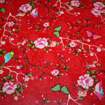besch. Baumwolle (PVC) - Blumen / Rosen / Schmetterlin / Vögel ..Pip - rot