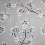 besch. Baumwolle GROSSE Kirschblüte grau / rosa  - AUSVERKAUFT