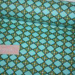 besch. Baumwolle - Raute - Muster türkis / petrol / gelb :)