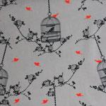 besch. Baumwolle AU Maison - Birdcage - charcoal / coral neon - Vogelkäfige + Blumenranken in charcoal (= holzkohle = grauschwarz) mit neonpinkfarbenen Vögel auf weißem Grund
