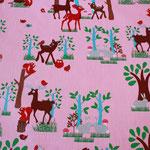beschichtete Baumwolle (PVC) - rosa mit Rehen, HIrsch, Eulen, Hasen