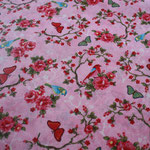 besch. Baumwolle (PVC) - Blumen / Rosen / Schmetterlin / Vögel ..Pip - rosa