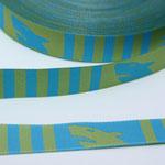 Hallo Hai lime / blau - Design: Steffi Mitzscherling 2013 - 15 mm breit - EUR 1,70/m RESTMENGE