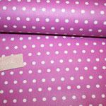 beschichtete Baumwolle- fuchsia mit weißen Punkten AUSVERKAUFT