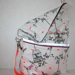 Birdcage white / charcoal / neon .. mit vorderem Reissverschluss .. hier als Beuteltasche