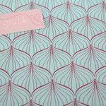 Baumwolle AU Maison - Design: ALLI - Farbe: aqua sky / scarlet red - AUSVERKAUFT