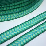Blätterband - grün - Muster in den Farben türkis + grün - 15 mm - Design: Franca Tack - EUR 2,50/m