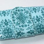 beschichtete Baumwolle - Lolas Posies - türkis mit Riegel & Magnetverschluss