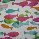beschichete Baumwolle  - bunte Fische ... pink türkis grün orange auf weißem Grund
