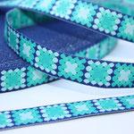 Mosaik blau - Mosaik in türkis/grün-Tönen - Design: Franca Tack - 15 mm breit - EUR 2,30/m