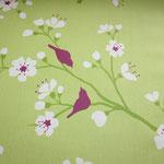 besch. Baumwolle - Kirschblüte grün / fuchsia - 1,5 m Stoffbreite