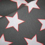 Baumwolle: Au Maison - Design: STAR GIANT - Sterne GIANT - Farbe: charcoal (= grauschwarz) / white / Neon - AUSVERKAUFT
