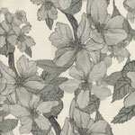 COMING SOON: besch. Baumwolle AU Maison - Design: Bloom it - Farbe: olive / natur