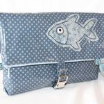 besch. Baumwolle Au Maison - Sternchen denim blue/dusty blue mit Fischapplikation - NOCH ZU HABEN