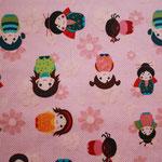 beschichtete Baumwolle (PVC) - Kinder der Welt / Mädchen - rosa