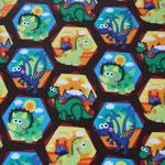 besch. Baumwolle (PVC) - Dinosaurier braun