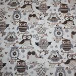 besch. Baumwolle (Acryl) - Eulen beige / grau