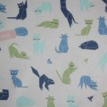 besch. Baumwolle  - Katzen blau, türkis, grün mit Schmetterlingen & Vögel - hellgraugrundig - 1,6 m Stoffbreite  RESTMENGE !!!